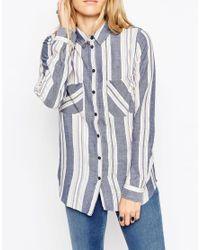ASOS | Multicolor Blue Stripe Soft Boyfriend Shirt | Lyst
