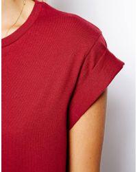 ASOS - Red Boyfriend Tshirt with Roll Sleeve - Lyst