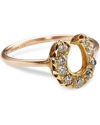 Annina Vogel | Metallic 9ct Rose-gold And Diamond Horseshoe Ring | Lyst