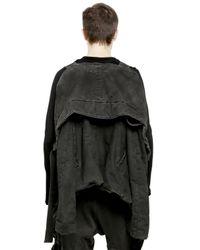 Julius Black Padded Washed Cotton Denim Jacket for men