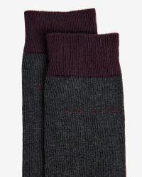 Ted Baker | Gray Colour Block Cotton Socks for Men | Lyst