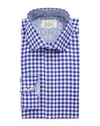 Ted Baker | Blue Checkered Button Down Shirt for Men | Lyst
