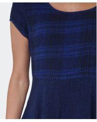 Grizas Blue Linen Drape Dress