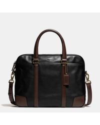 COACH Brown Bleecker Slim Brief In Harness Leather for men