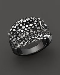 Roberto Coin | Metallic Ruthenium Plated Sterling Silver Stingray Concave Ring | Lyst