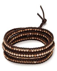 Chan Luu - Brown Five Wrap Crystal Cultured Freshwater Pearl Bracelet - Lyst