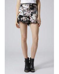 TOPSHOP Black Fantasy Floral Lace Runner Shorts