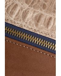 Clare V. Brown Louise Nubuck And Croc-Effect Leather Shoulder Bag