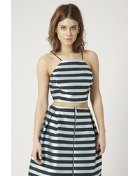 TOPSHOP - Blue Satin Stripe Wrap Back Crop Top - Lyst