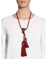 Lanvin | Red Veruschka Crystal-Embellished Cord Necklace | Lyst