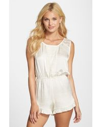 Band Of Gypsies | White Lace Trim Romper | Lyst