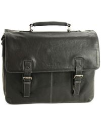 "Kenneth Cole - Brown ""flap-py As Can Be"" Crumpled Leather Double Gusset Laptop Brief for Men - Lyst"