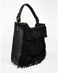 Oasis | Black 2 In 1 Fringed Hobo Bag | Lyst
