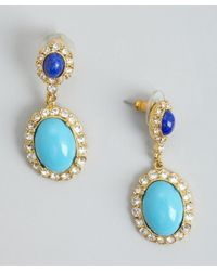 Ben-Amun | Blue Turquoise, Lapis And Crystal Drop Earring | Lyst