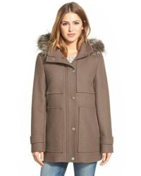 Kenneth Cole | Brown Faux Fur Trim Wool Blend Duffle Coat | Lyst