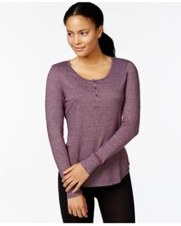 32 Degrees | Purple Solid Henley Baselayer Top | Lyst