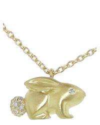 Finn Metallic Diamond Bunny Necklace