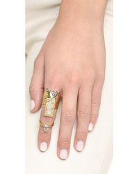 Alexis Bittar Blue Two Part Paired Cocktail Ring - Aqua Green/gold