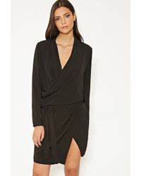 Forever 21 | Black Mlm Surplice Wrap-front Dress | Lyst