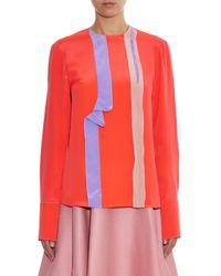 ROKSANDA Pink Edun Ruffle-trimmed Silk Blouse