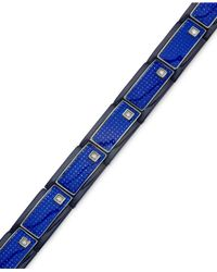 Macy's - Men's Blue Carbon Fiber And Diamond (1/6 Ct. T.w.) Bracelet In Stainless Steel for Men - Lyst
