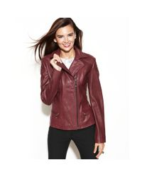 Anne Klein Asymmetrical Quilted Leather Jacket In Burgundy