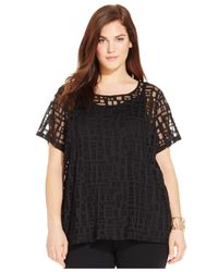 INC International Concepts | Black Plus Size Geo-print Illusion Top | Lyst
