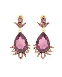 Oscar de la Renta - Pink Crystal-embellished Clip-on Earrings - Lyst