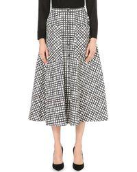 Saloni | Black Leah Geometric-print Cotton-blend Midi Skirt | Lyst