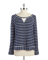 Splendid | Blue Striped Boatneck Top | Lyst