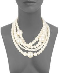 Kenneth Jay Lane | White Faux Pearl Multi-row Collar Necklace | Lyst