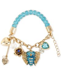 Betsey Johnson | Blue Gold-tone Crystal And Faceted Bead Charm Bracelet | Lyst
