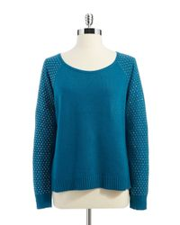 DKNY | Blue Sweater With Studded Sleeves | Lyst