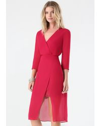 Bebe | Red Petite Lace Trim Dress | Lyst