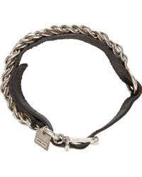 Goti Metallic Black Leather And Chain Bracelet for men