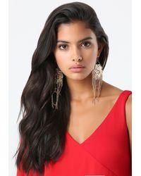 Bebe - Metallic Flower & Fringe Earrings - Lyst