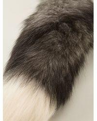 Alexander McQueen Gray Fox Fur Necklace