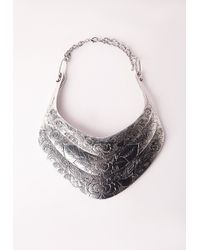 Missguided - Metallic Three Layered Engraved Necklace - Lyst