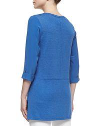 Belford - Blue Silk-cotton Tab-sleeve Tunic - Lyst