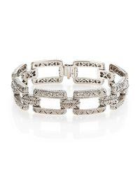 Judith Ripka | Metallic White Sapphire & Sterling Silver Estate Rectangular Linked Bracelet | Lyst