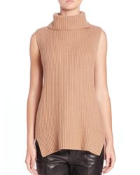 Vince - Brown Directional Ribbed Turtleneck Sweater - Lyst