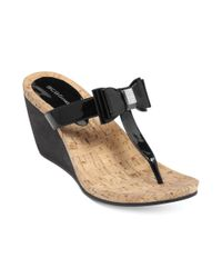 BCBGeneration Black Michelle Wedge Thong Sandals