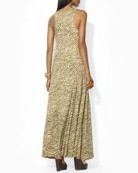 Ralph Lauren Natural Lauren Tiger Print Maxi Dress