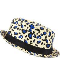 River Island Multicolor Ecru Leopard Print Straw Trilby Hat