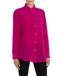 Acne | Pink Long Sleeve Sheer Button Up Shirt | Lyst