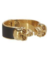 Alexander McQueen | Metallic Two Skull Metal/Leather Bracelet | Lyst