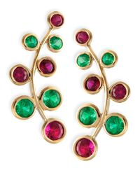 Rina Limor | 18k Yellow Gold Vine Earrings With Rubies & Emeralds | Lyst
