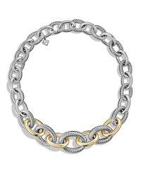 David Yurman - Metallic Medium Oval Chain Necklace With 14k Gold - Lyst