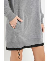 Forever 21 Gray Drawstring Sweatshirt Dress