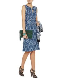Tory Burch Blue Tara Printed Silk-Jersey Dress